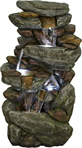 "Brafab Outdoor 5-Tier Floor Rack Waterfall Fountain with White LED Light for Patio Yard Garden Lawn-40.15"" Tall"