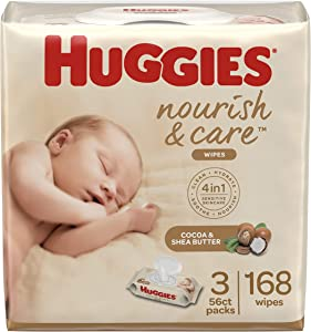 Huggies Nourish & Care Baby Wipes,3 Packs, 168 Wipes Total