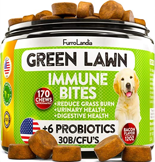 FurroLandia Natural Grass Saver for Dogs - 170 Soft Chews - Dog Pee Lawn Repair Caused by Dog Urine - Grass Saver Rocks - Dl-Methionine - Probiotics - Digestive Enzymes - Bacon Flavor