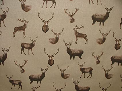 Highland Stag Mini Prints Country Linen Look Fabric Curtain Upholstery Quilting