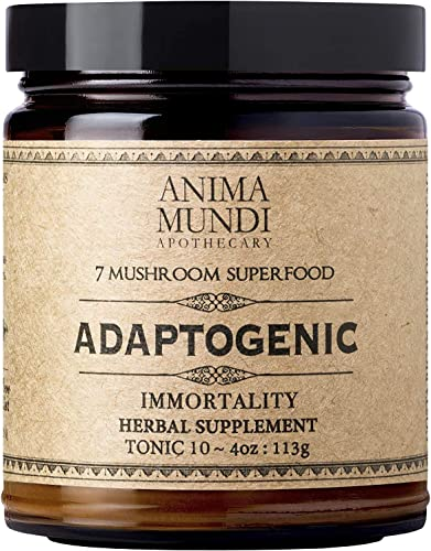Anima Mundi Adaptogenic Immortality 7 Mushroom Superfood Blend with Cacao – Organically Grown Activated Mushroom Super Powder with Reishi, Agaricus Cordyceps 4oz 113g