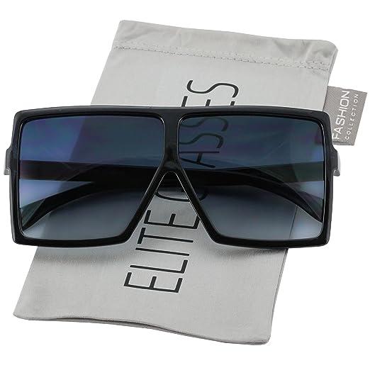 4e143fb827b Elite Big XL Large Oversized Super Flat Top Square Multi Tone Color Fashion  Sunglasses (Black
