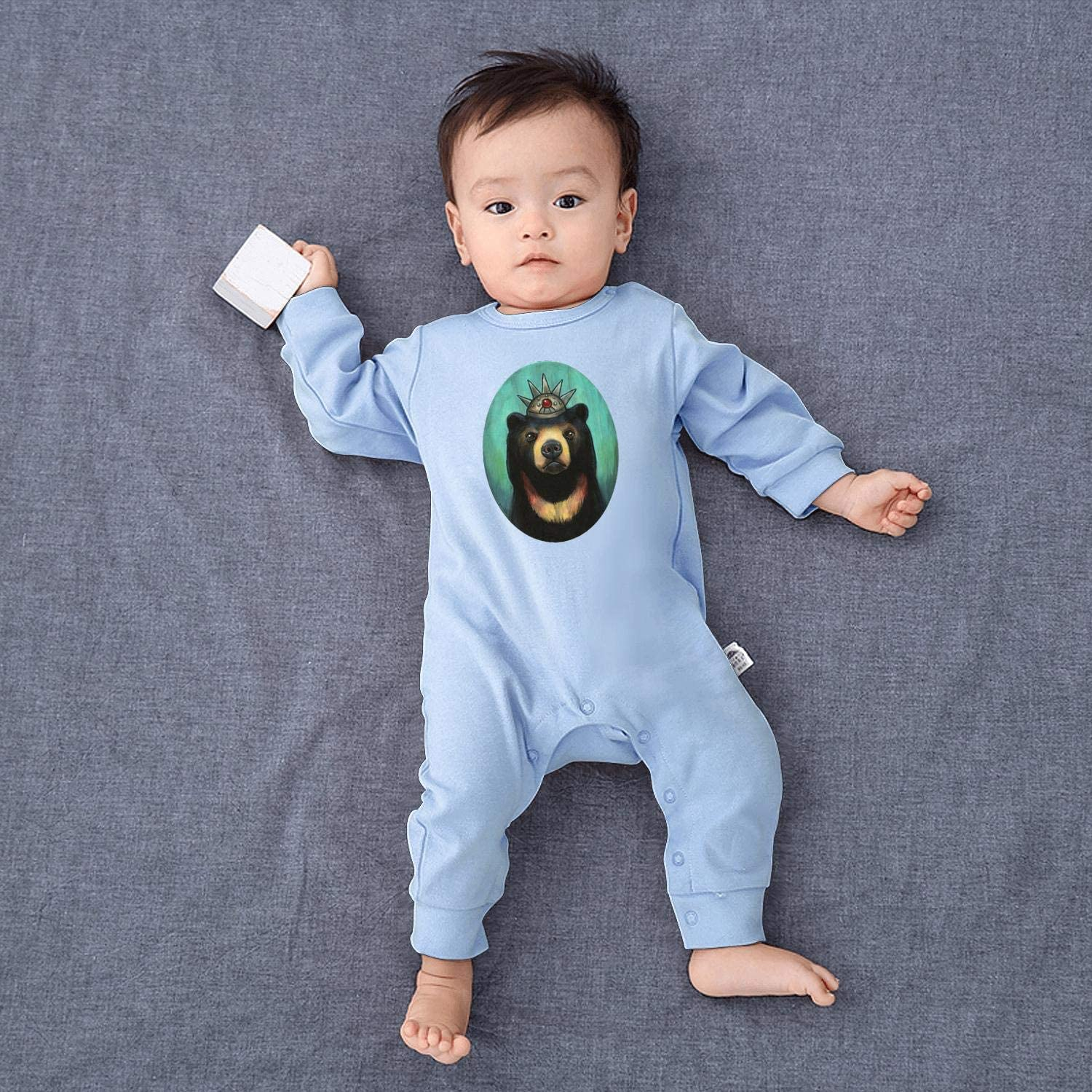 The Sun Bear Oil Painting Fashion Newborn Crawling Suit Lone-Sleeved Romper Bodysuit