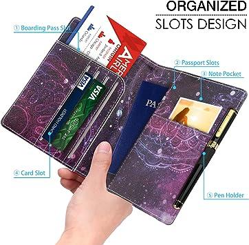 Ttarjetas de Cr/édito Cartera para Pasaporte CHEPL Portadocumentos para Viajes Impermeable Portadocumentos Parta Pasaporte Documentos Familiar para Pasaportes Tarjetas de Identidad