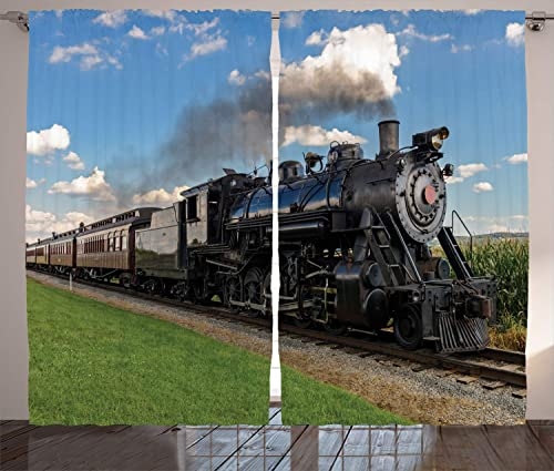 Ambesonne Steam Engine Curtains 2 Panel Set, Vintage Black Locomotive in Countryside Landscape Green Grass Puff Train Picture, Living Room Bedroom Decor, 108 W X 90 L Inches, Blue Green Black