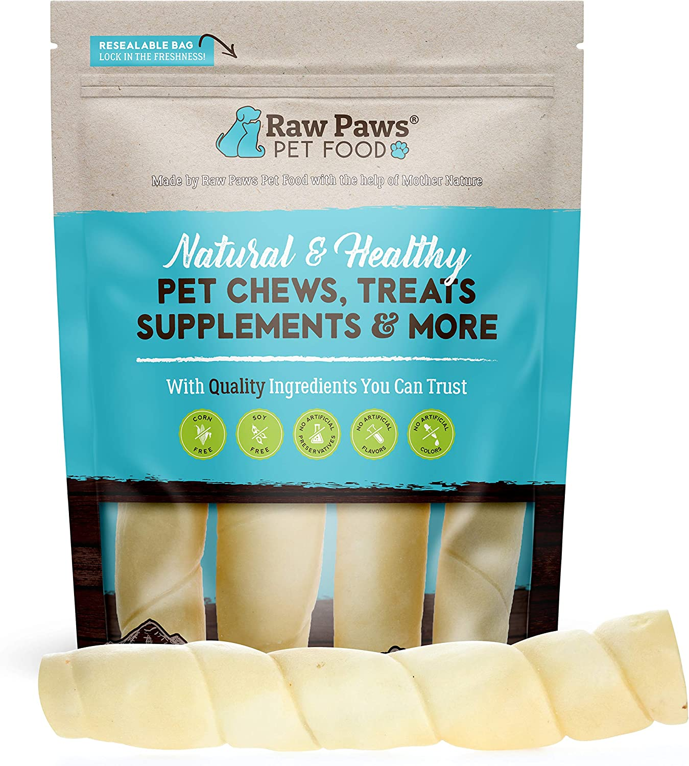 Raw Paws 10-inch Retriever Beef Cheek Rolls for Dogs, 4-ct - Packed in USA - Safe Rawhide Alternative Dog Chews - Free-Range Cow Cheek Rolls for Dogs - Retriever Rolls for Large Dogs - Dog Beef Cheeks