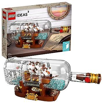 LEGO Ideas-Barco en una botella, set de construcción decorativo de velero de juguete (21313)