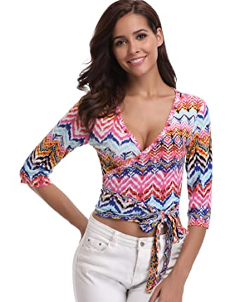 e82e553c9bce MISS MOLY Wrap Tops for Women Blouses Ladies Deep V Neck T-Shirts Floral  Printed