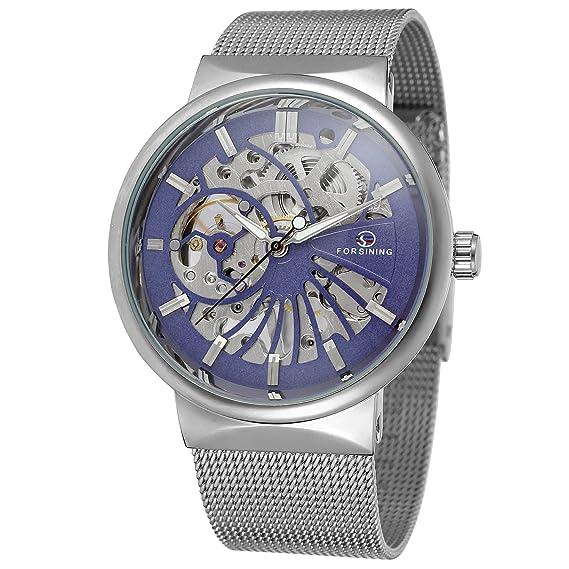 Forsining de los hombres populares Ultra Thin malla de pulsera de acero inoxidable, Mecánico Esqueleto Reloj de pulsera: Amazon.es: Relojes