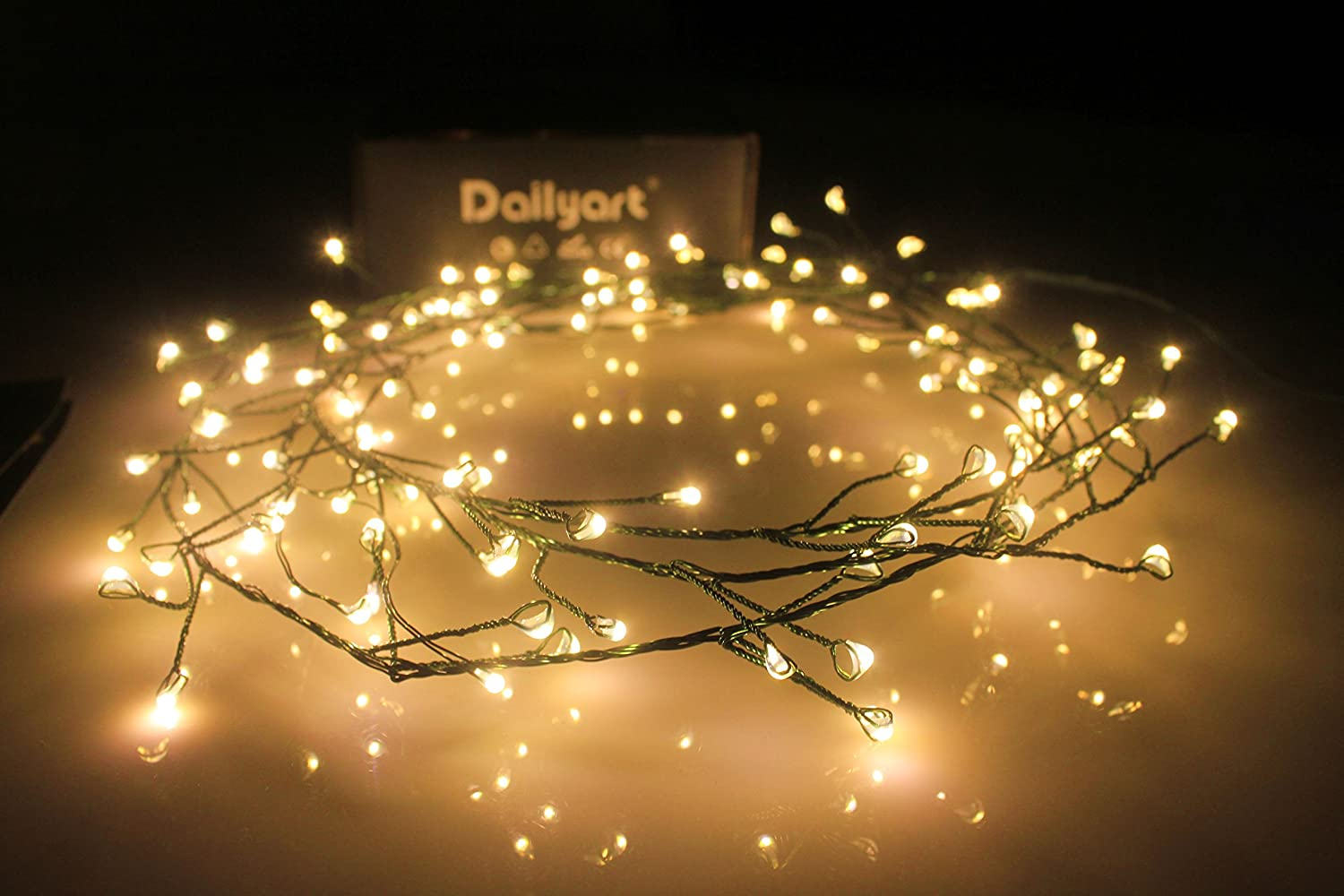 LED Starry Lights, Dailyart Battery Operated Waterproof Dark Green Copper Wire Fairy Light String Light for Garland, Wreath, Patio, Garden, Wedding, Party, Xmas(Warm White) -- 6feet 120 LEDs