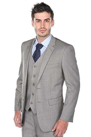 48a25c5424 Gino Vitale Mens Modern Fit Fashion Sharkskin 3 Piece Suit