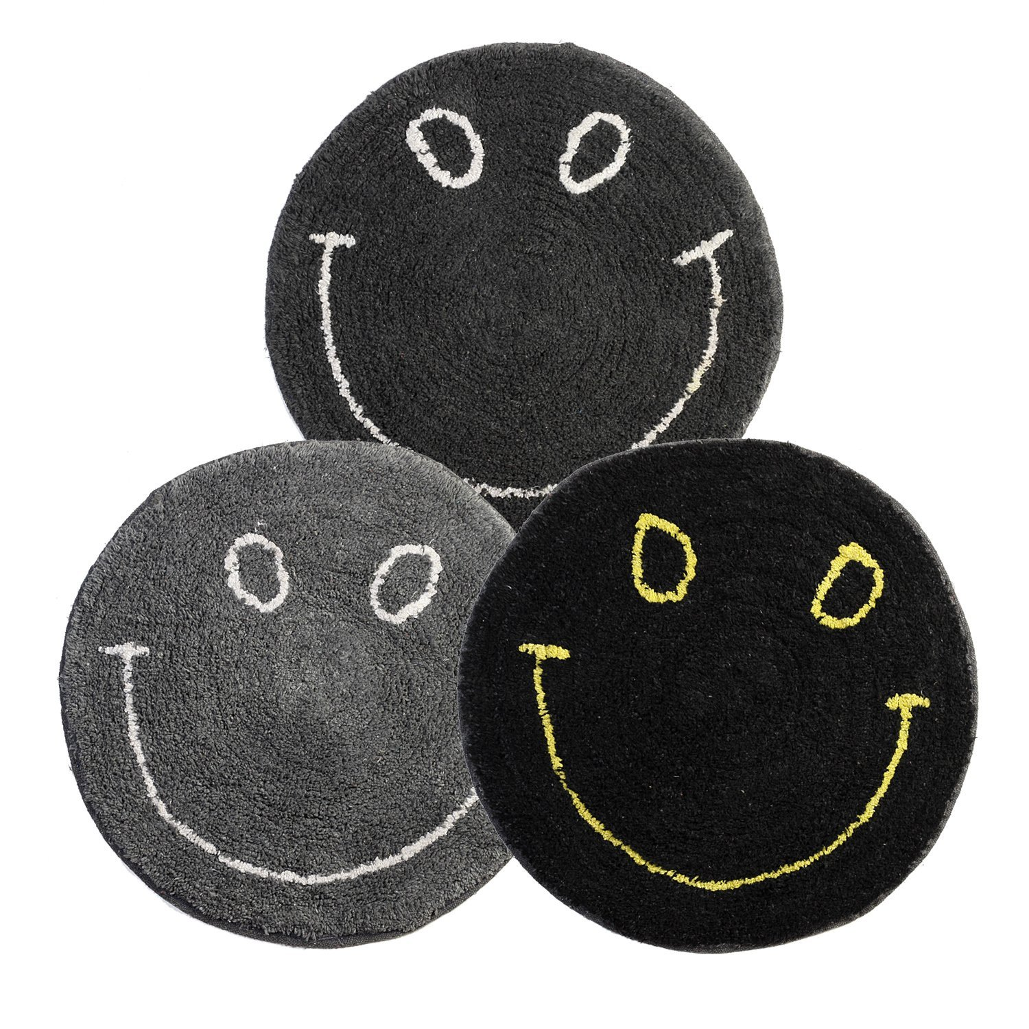 Dreaming Cotton 100-Percent Cotton Round Medium sized Smiley Tufted Bath Rug or Bath Mat or Door Rug, Set of 3, Dark colored