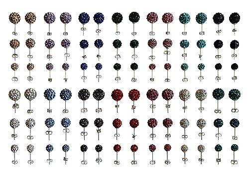 Hombres Mujeres Niñas Shamballa Stud Pendientes, plata de ley 925con Sello, Set de regalo de 3pares 6mm, colores variados.