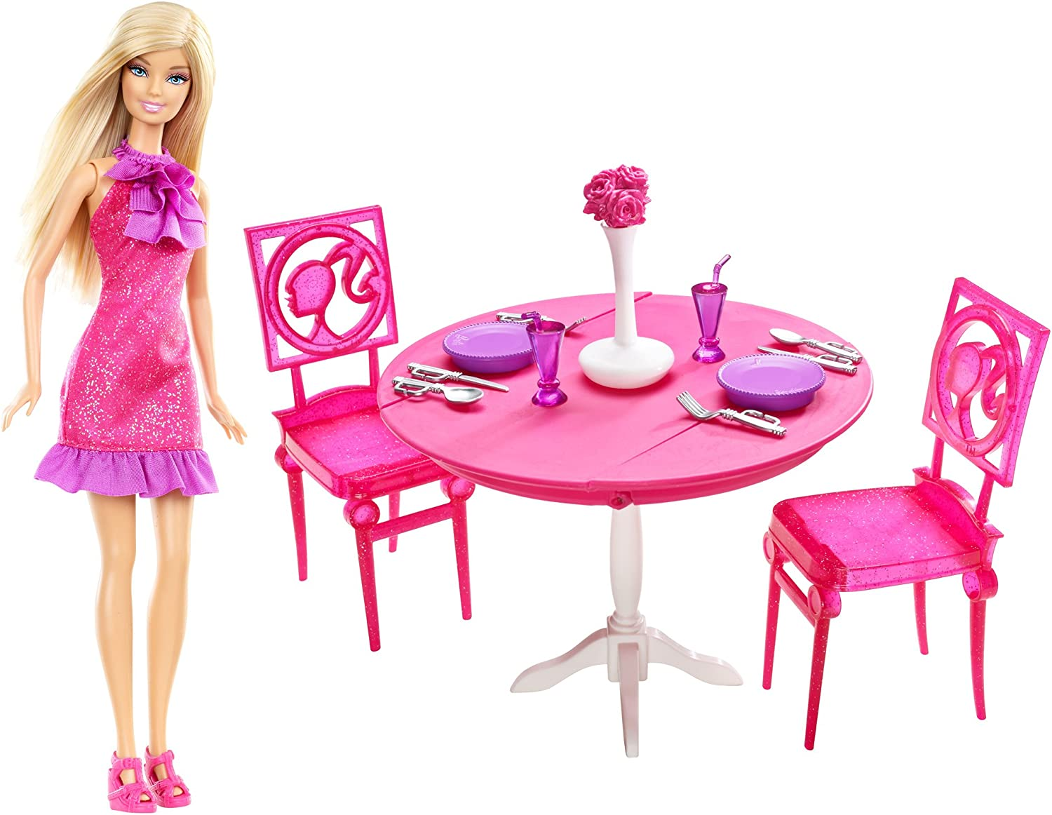 Amazon Com Mattel Barbie Doll And Dining Room Giftset Toys Games