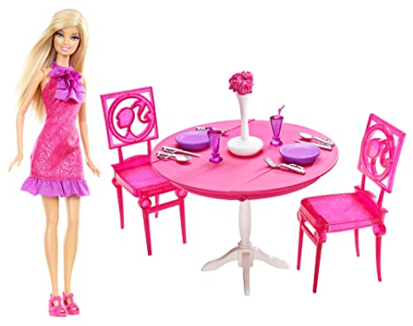 mattel barbie dining room dinner date night amazon co uk toys games rh amazon co uk barbie dining room table barbie living room set