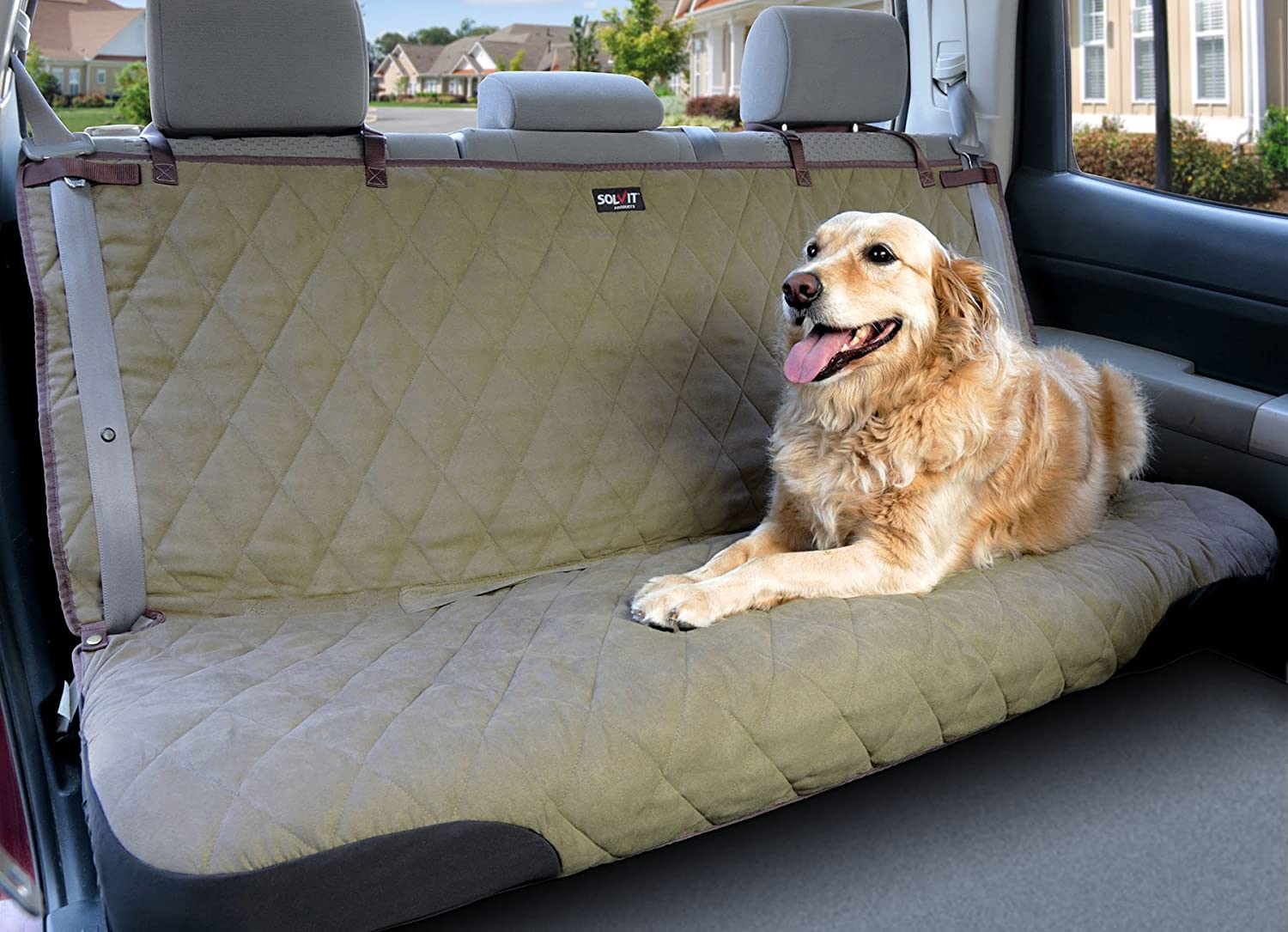 Green Standard Green Standard Solvit Products 62283 Deluxe Bench Seat Cover Natural, Large