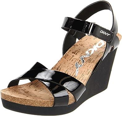 1d52359154e DKNY Black 23120207 Women s Wedge Sandals Black Patent UK 8  Amazon ...