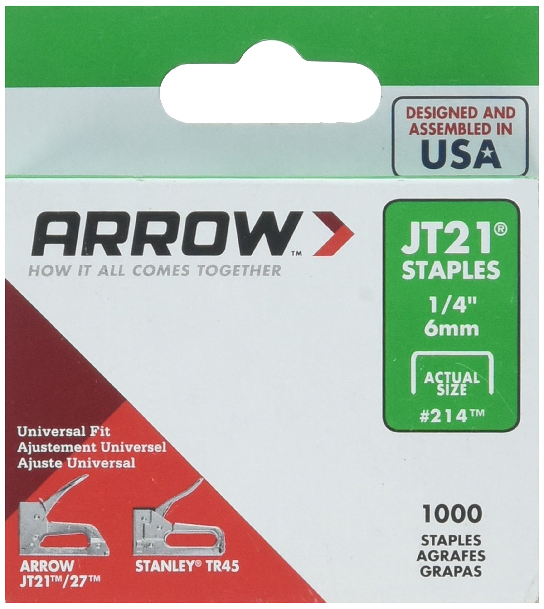 Arrow Fastener 214 5 Pack 1/4in. JT21 Light Duty Staple, 1,000 Staples per Pack