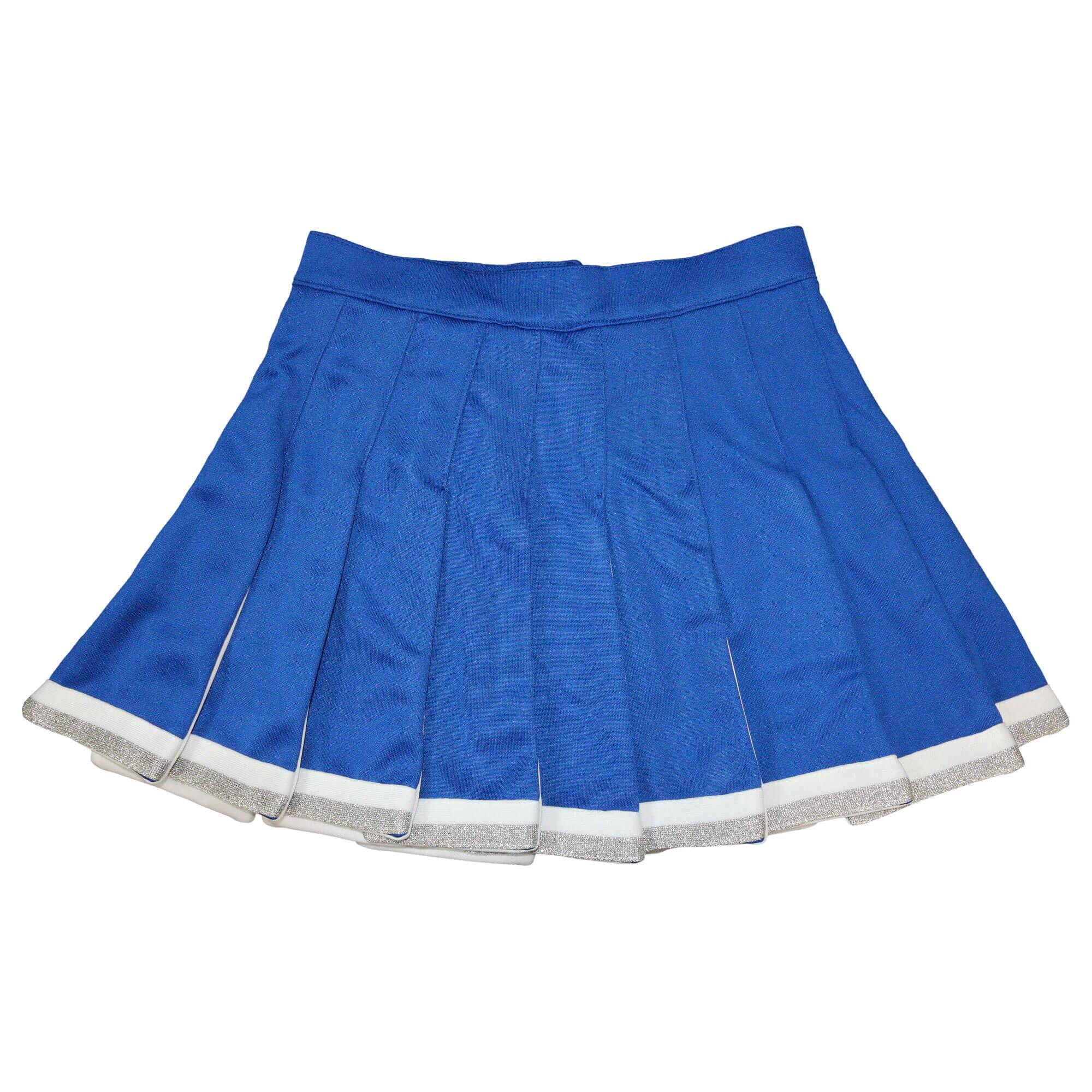 Danzcue Child Cheerleading Pleated Skirt, Royal/White, X-Small