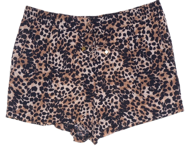 Thalia Sodi Leopard-Print Drawstring Shorts Size M