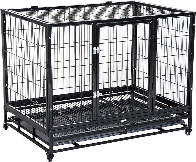 PawHut Jaula de Metal para Mascotas Tipo Perro Grande con Ruedas y Bandeja Extraíble 92x62x75cm