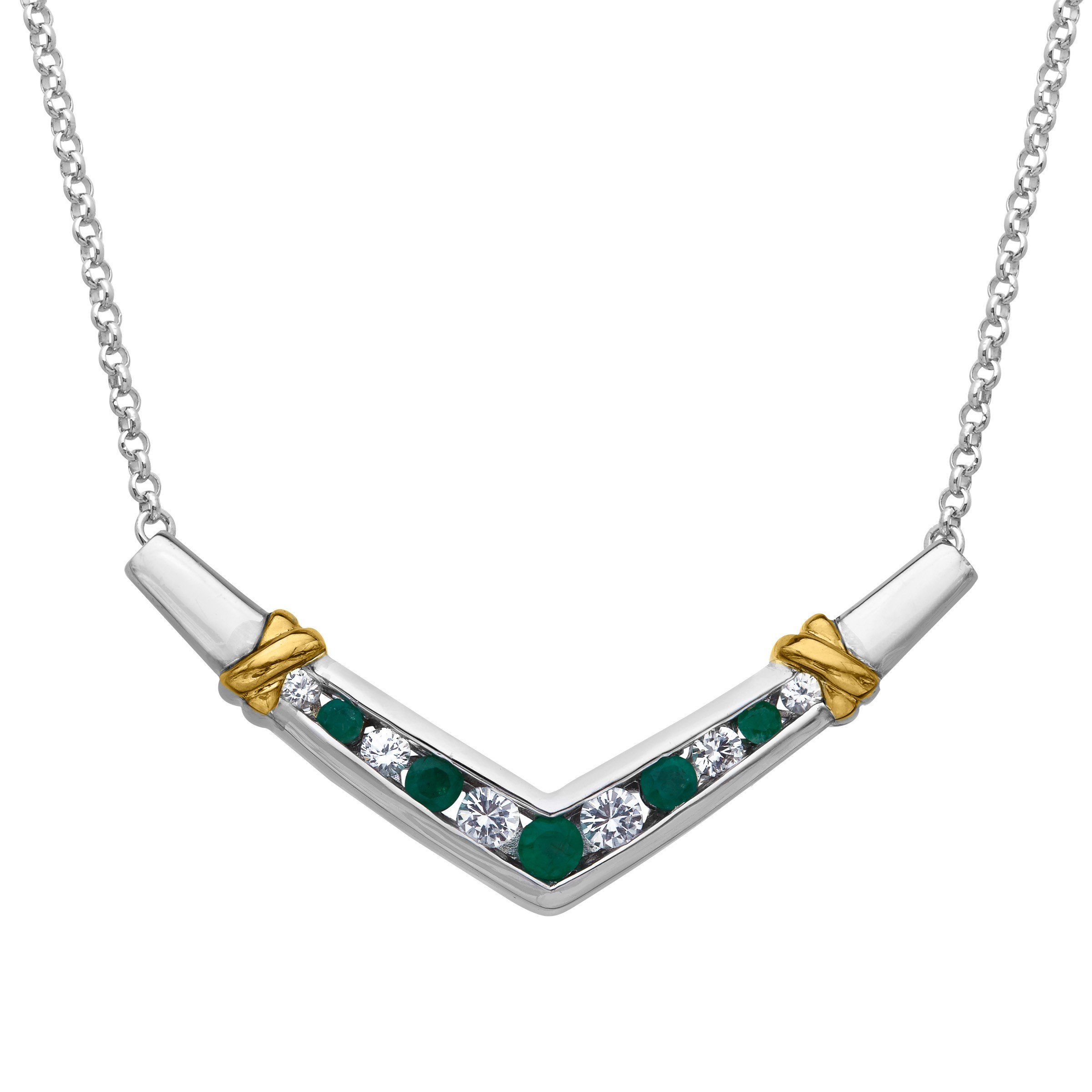 7/8 ct Natural Emerald and Created Sapphire Necklace in Sterling Silver and 14K Gold