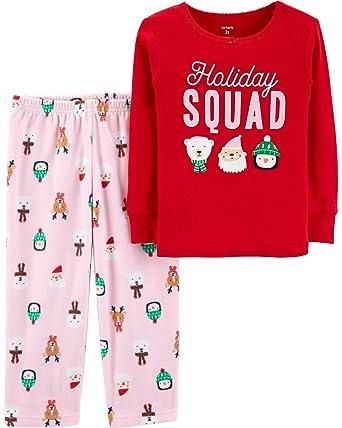 ced99a121 Carter s Toddler Girls  2 Piece Christmas Cotton   Fleece Pajamas ...