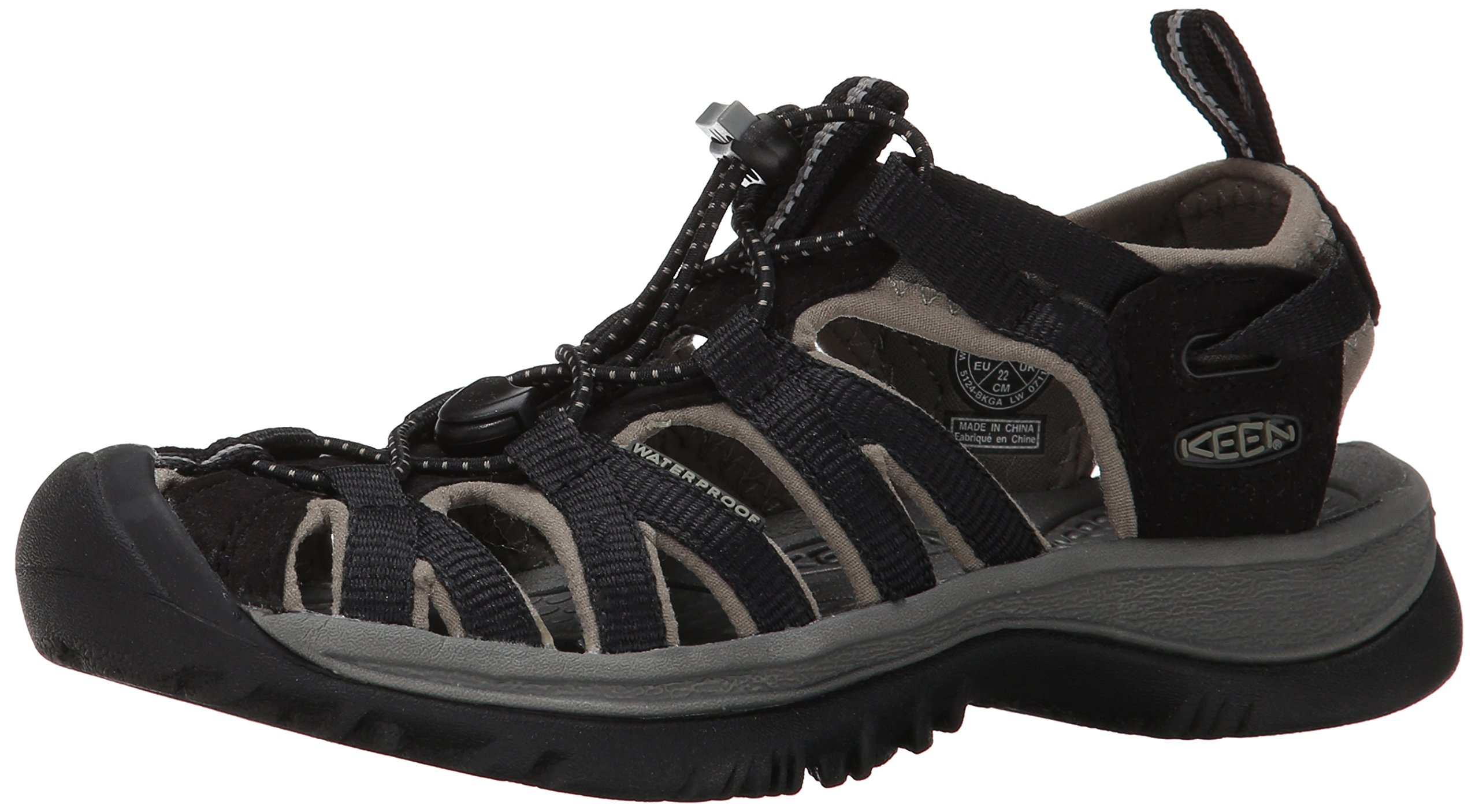 KEEN Women's Whisper Sandal,Black/Gargoyle,10 M US