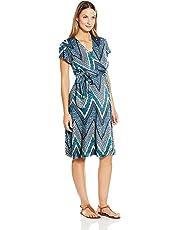 Everly Grey Women's Kathy Maternity and Nursing Flutter Sleeve Wrap Dress