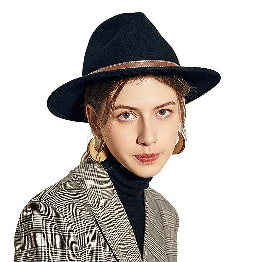 Sedancasesa Men s Crushable Wool Felt Outback Hat Wide Brim Fedora Hats  Black (M1(57CM 850134a5dae9