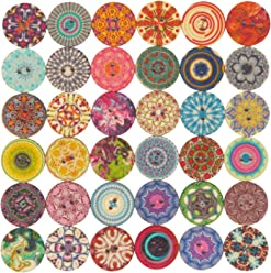 100 Cute Colorful Snowflake DIY Wooden Buttons for Sewing Crafting