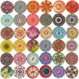 Mahaohao 100pcs Mixed Random Flower Painting Round 2 Holes Wood Wooden Buttons for Sewing Crafting 20mm
