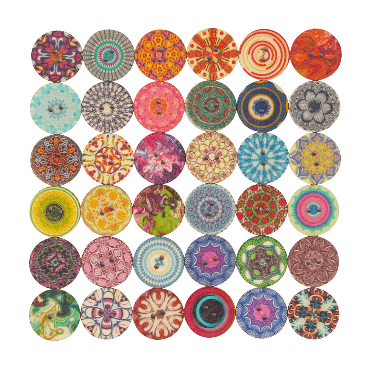 Mahaohao Mixed Random Flower Painting Round 2 Holes Decorative Wood Wooden Buttons for Sewing Crafting 25mm 1 Inch Pack of 100 4337004515