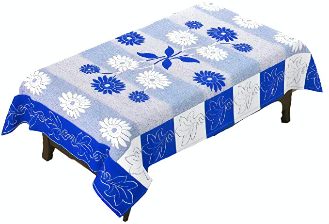 Yellow Weaves Polyester 4 Seater Table Cover, 40x60-inch, Blue