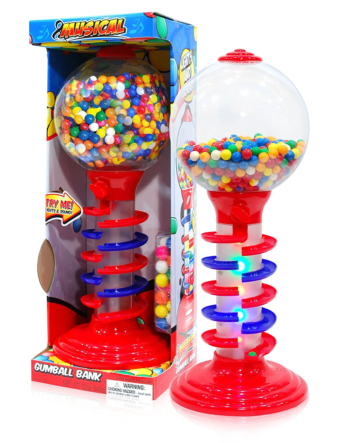 Sweet N Fun Light and Sound Spiral Gumball Bank with 340G Gumballs, 21 21 9468