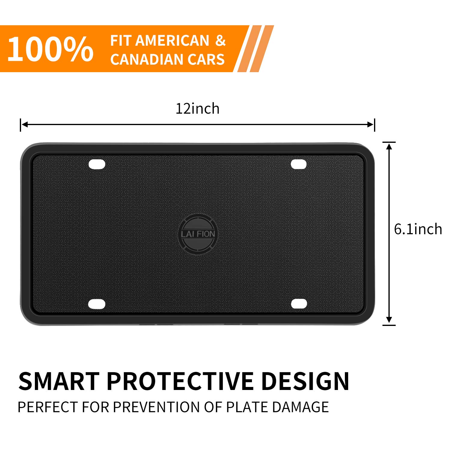 Stainless Steel Screws 2Pcs 4 Holes Black License Plate Covers Front//Rear Tag Holder Rust-Proof Rattle-Proof Weather-Proof with Black Screw Caps LAI FION Silicone License Plate Frames