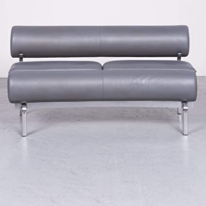 Kill International Designer Leder Sofa Grau By Horst Brüning Echtleder  Zweisitzer Couch #6875