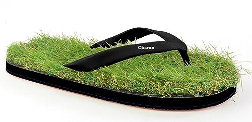 5ed767a38a0 CHARAN COLLECTIONS Unisex Black Steps Grass Flip Flops