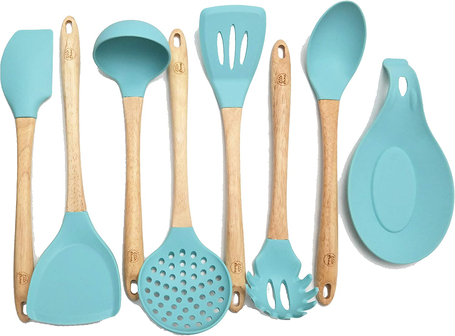 Premium Silicone Cooking Utensils Set, 8 Piece Kitchen Utensil Set with Natural Wood Handles