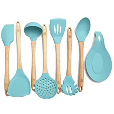 Premium Silicone Cooking Utensils Set, 8 Piece Kitchen Utensil Set with Natural Wood Handles, BPA Free Turquoise Silicone Utensils, Safe Cooking Tools for Non-stick Cookware, Best Kitchen Gift