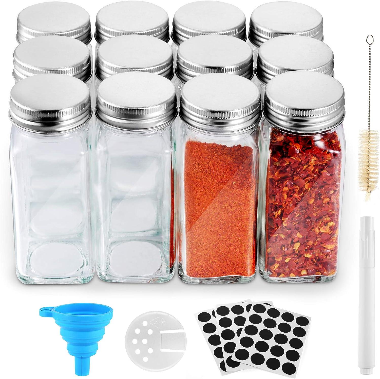 Funxim Botes para Alimentos 12 Pcs, Tarros de Cristal para Especias 120ml Buena Estanqueidad a Los Gases con Embudo de Tiza Líquida y 60 Etiquetas para Hierba, Especia, Cocina, Barbacoa al Aire Libre