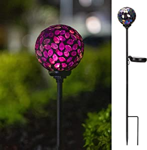 VCUTEKA Solar Lights Outdoor Decorative - Mosaic Solar Garden Light Waterproof LED Pathway Stake Light for Landscape Lawn Patio Yard Decoration, 1 Pack