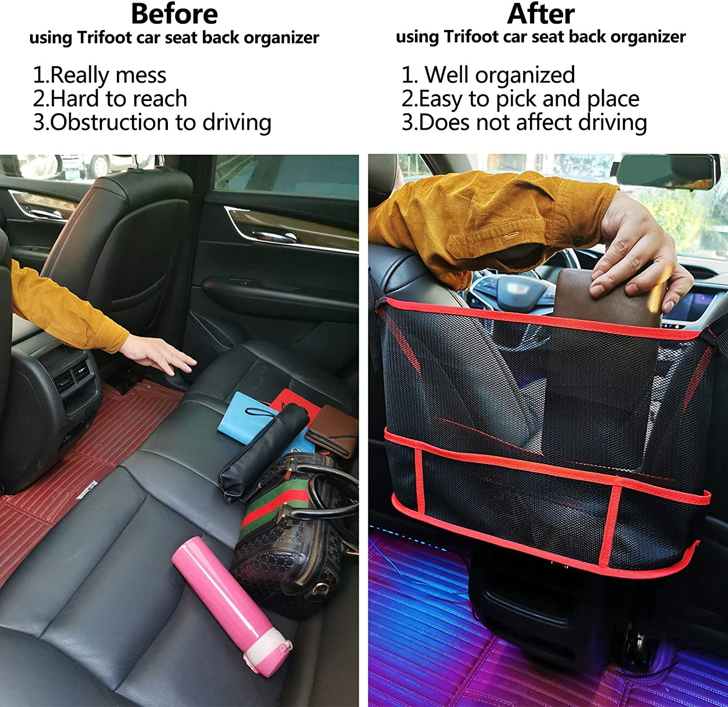 Upgrade Version-Red Trifoot Car Net Pocket Handbag Holder,Multi-function Organizer Mesh between front seats,Large Capacity Storage Net Bag for Purse,Document and other stuff Barrier of Backseat Pet,Kids