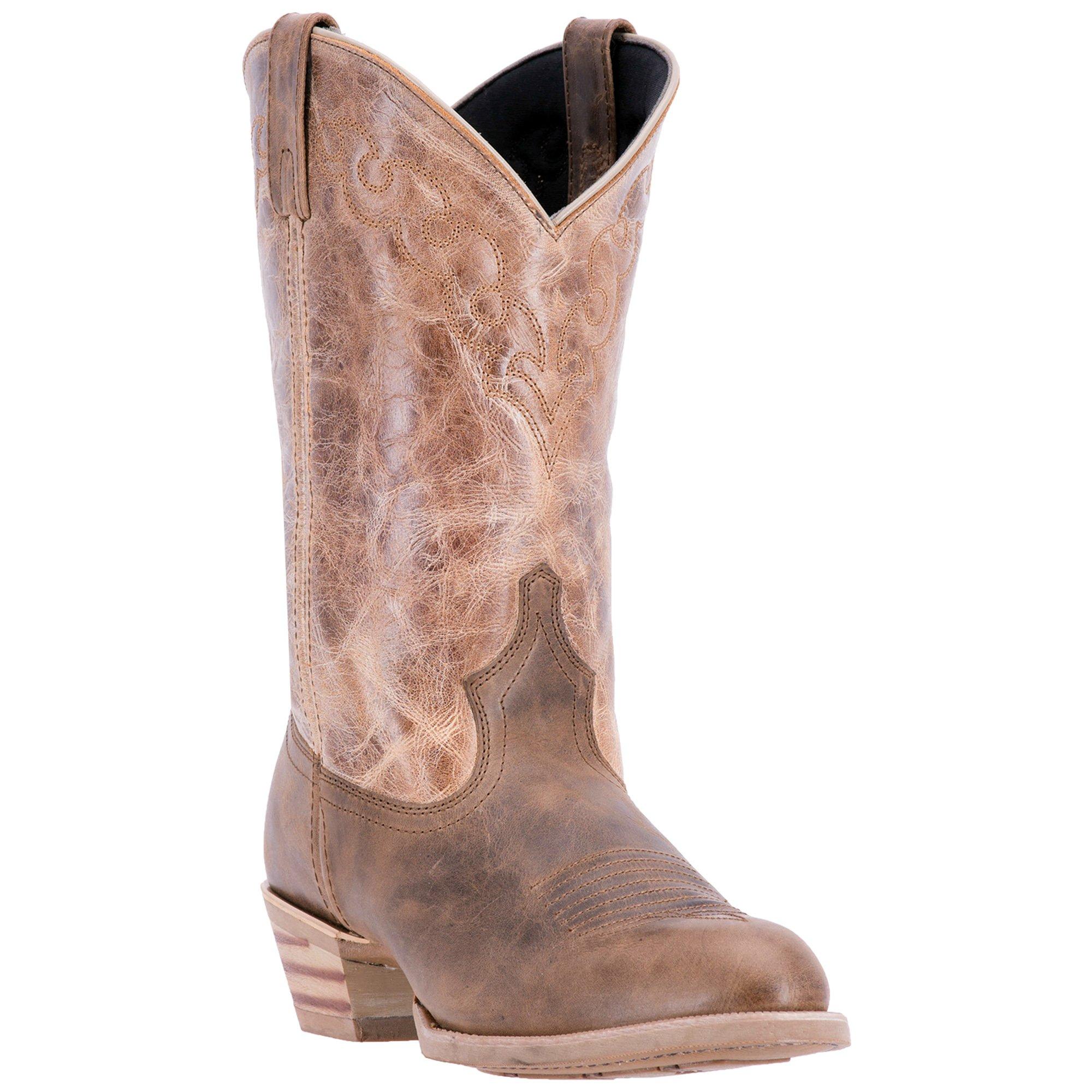 Dingo Mens Chocolate/Tan Cowboy Boots Leather Cowboy Boots R Toe 10 D by Dingo