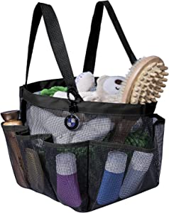 Attmu Portable Caddy with 8 Mesh Storage Pockets, Quick Dry Shower Tote Bag Oxford Hanging Toiletry and Bath Organizer for Shampoo, Conditioner, Soap and Other Bathroom Accessories, Black