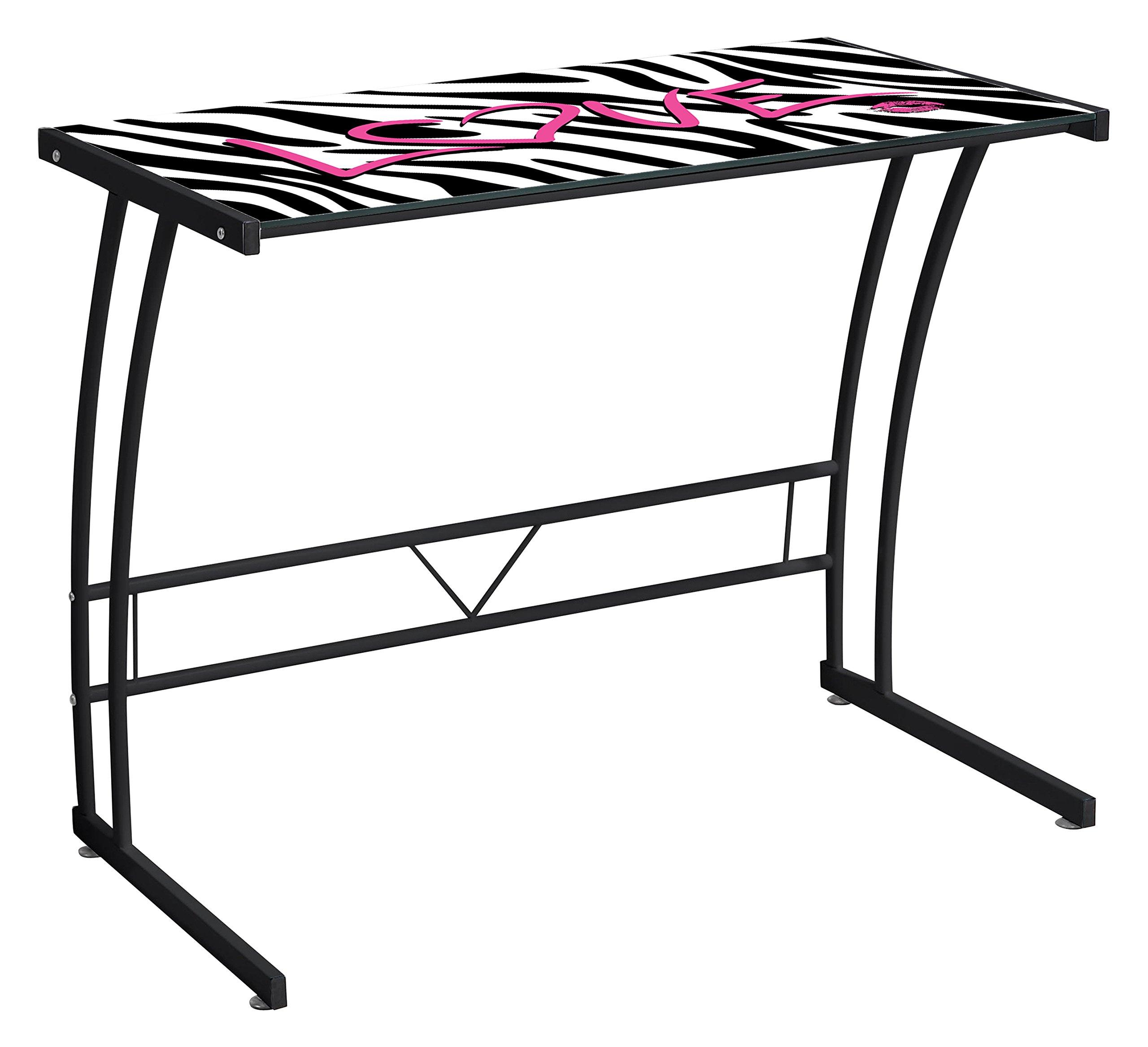 LumiSource OFD-TM-BITSGL Z Sigma Graphic Desk Contemporary, Black Frame/Zebra Love