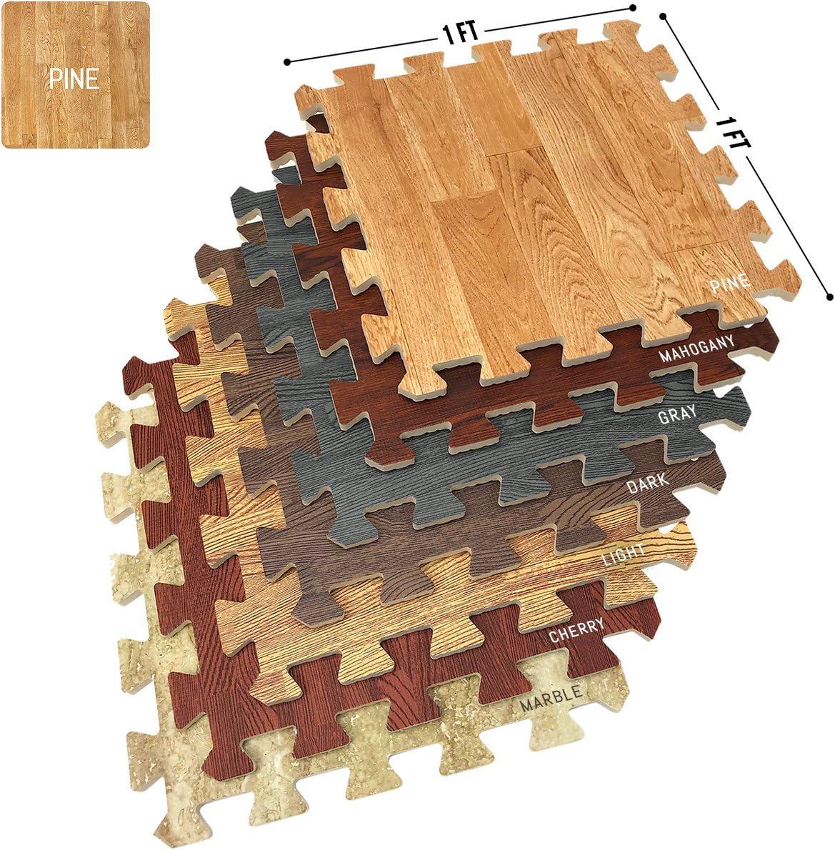 Sorbus Wood Grain Floor Mats Foam Interlocking Mats Each Tile 3/8-Inch Thick Flooring Wood Mat Tiles - Home Office Playroom Basement Trade Show