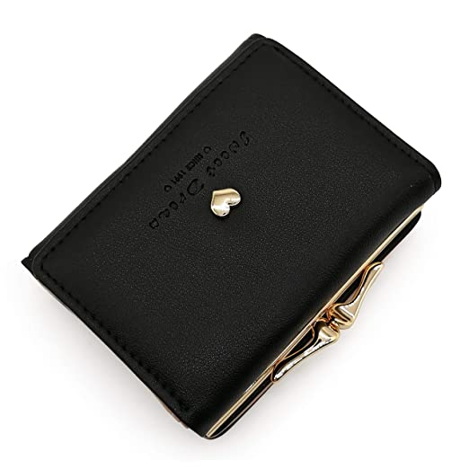88512159e6bb Women's Mini Metal Frame Kiss-Lock Wallet Leather Card Holder Purse Clutch