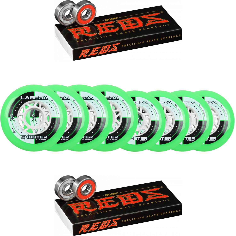 Labeda Shooter Inline Roller Hockey Wheels HILO SET 76mm/80mm Bones Reds