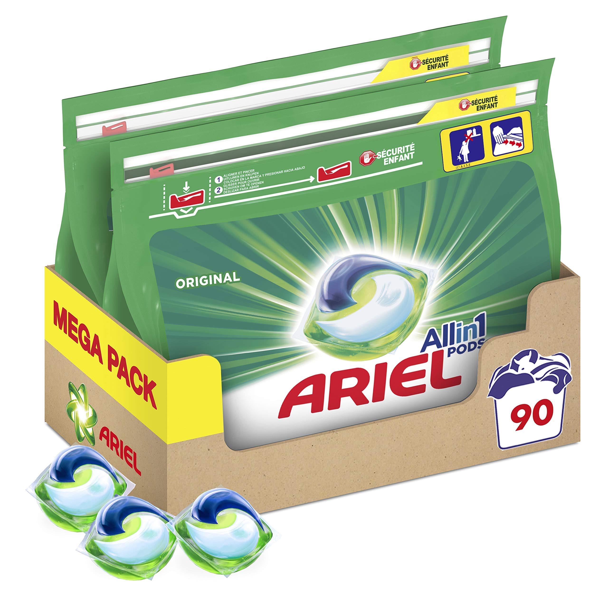 Ariel Pods Allin1 Detergente en Cápsulas para Lavadora, Original, 90 Lavados (2 x 45)
